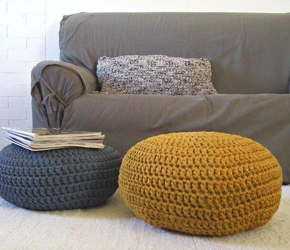 Mustard crochet pouf ottoman chunky knit pouffe gold for Pouf da salotto