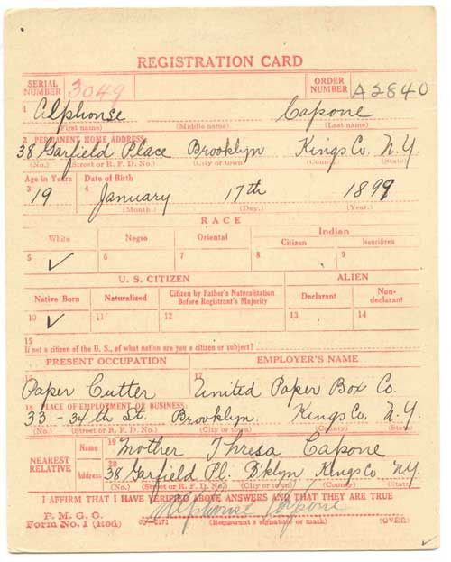 Al Capone Draft Registration Card For Wwi Source U S National