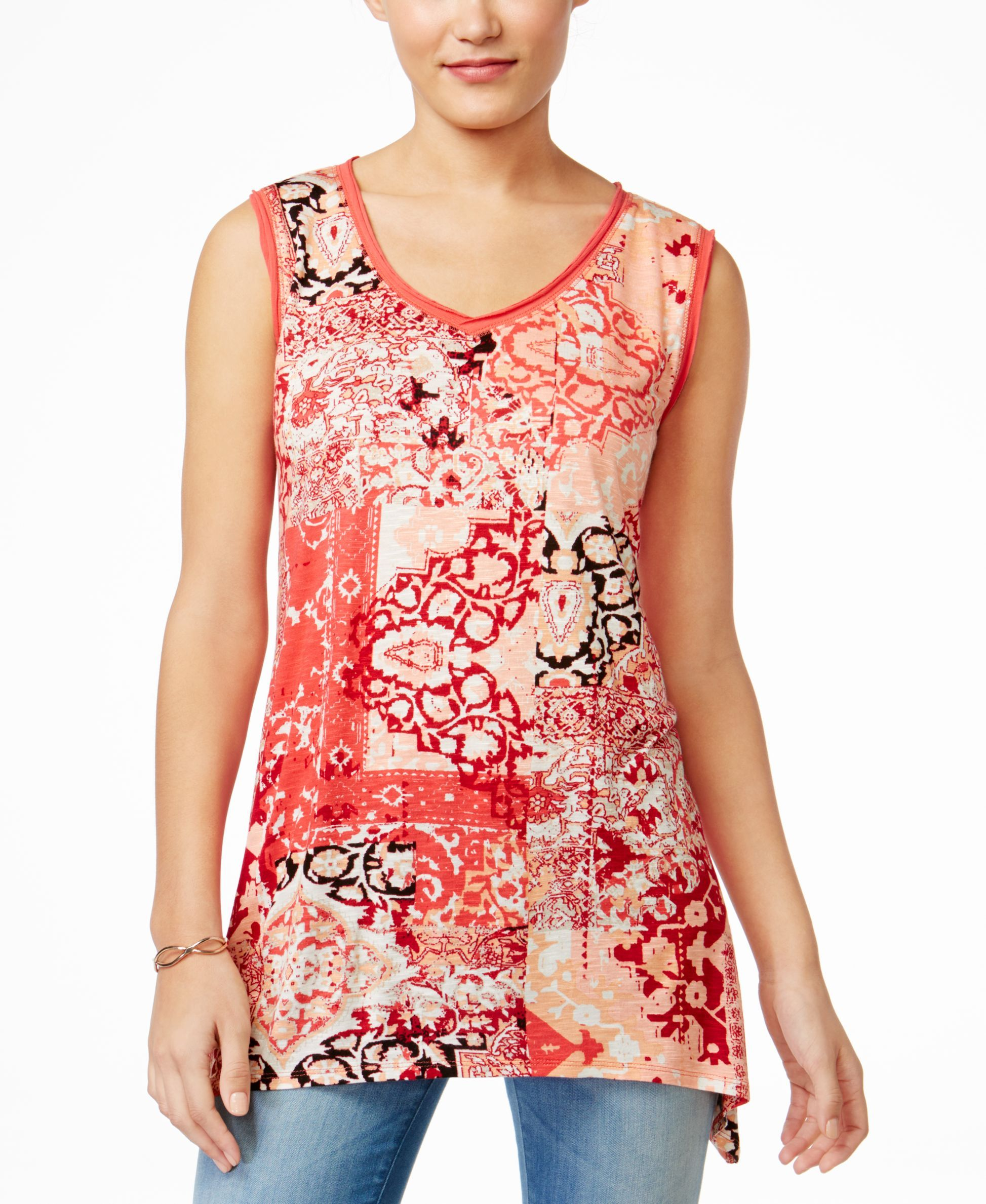 Style & Co. Petite Printed Sleeveless V-Neck Top, Only at Macy's