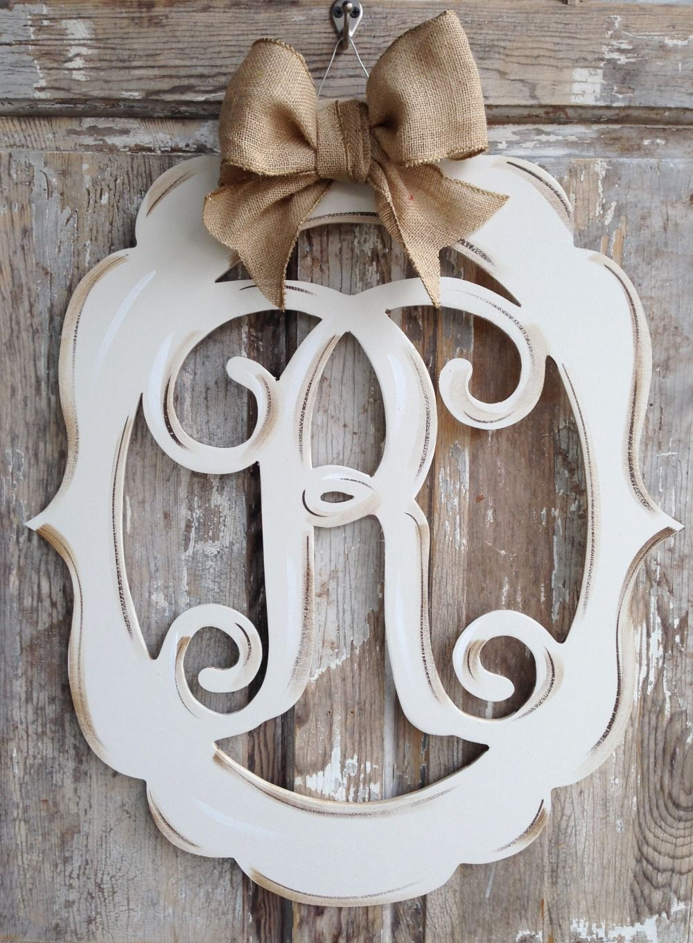 This Beautiful Wooden Monogram Is One Of Our Very Best Sellers The Hand Painted Distress Finish That I Monogram Door Decor Door Decorations Monogram Painting