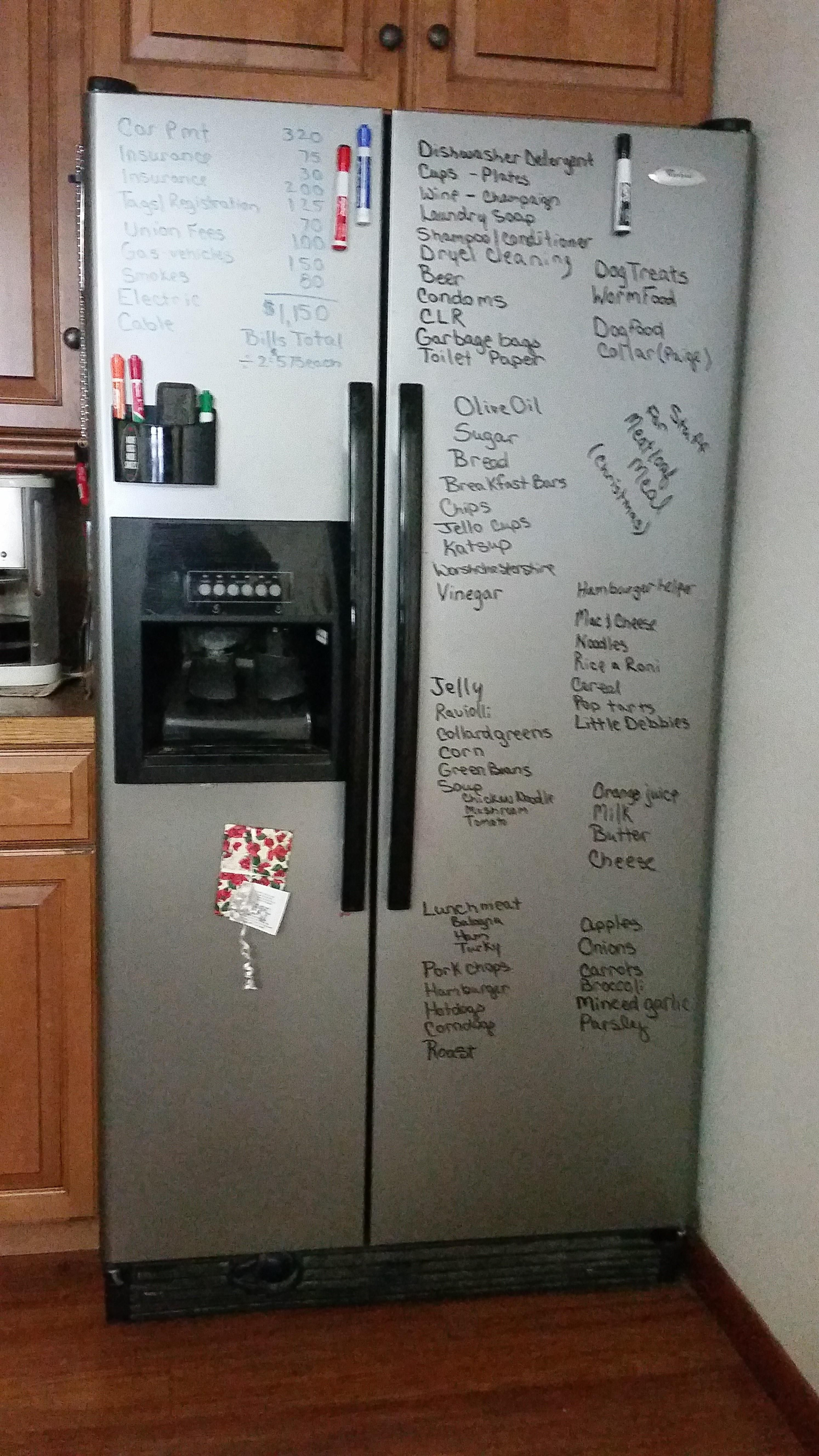Instead Of Buying A Whiteboard Use Your Fridge Depending On Surface Type To Keep Track Of Your Bills Shop Dry Erase Markers White Board How To Keep Organized