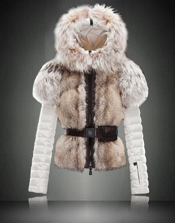Moncler 2013 Luxury Fur Trim Down Jacket Outlet White [2900514] - £279.99 :