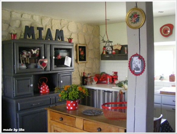 cuisine rustique rougegrisblanc home sweet home