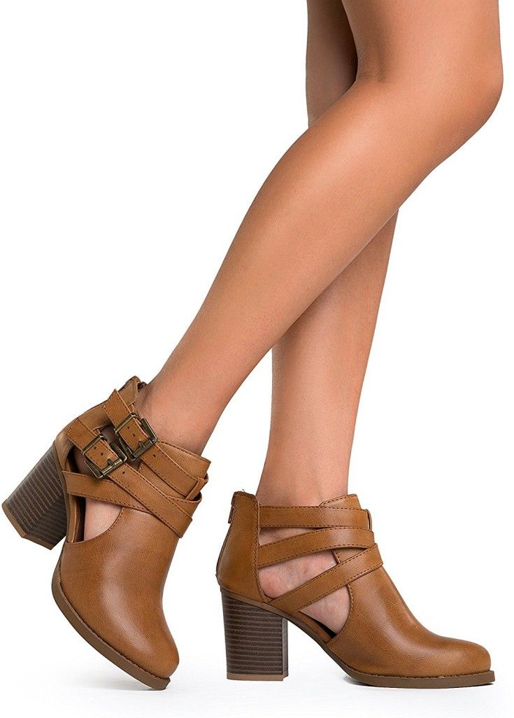 Cut Out Buckle Ankle Bootie - Low Stacked Wood Heel Western Round Boot