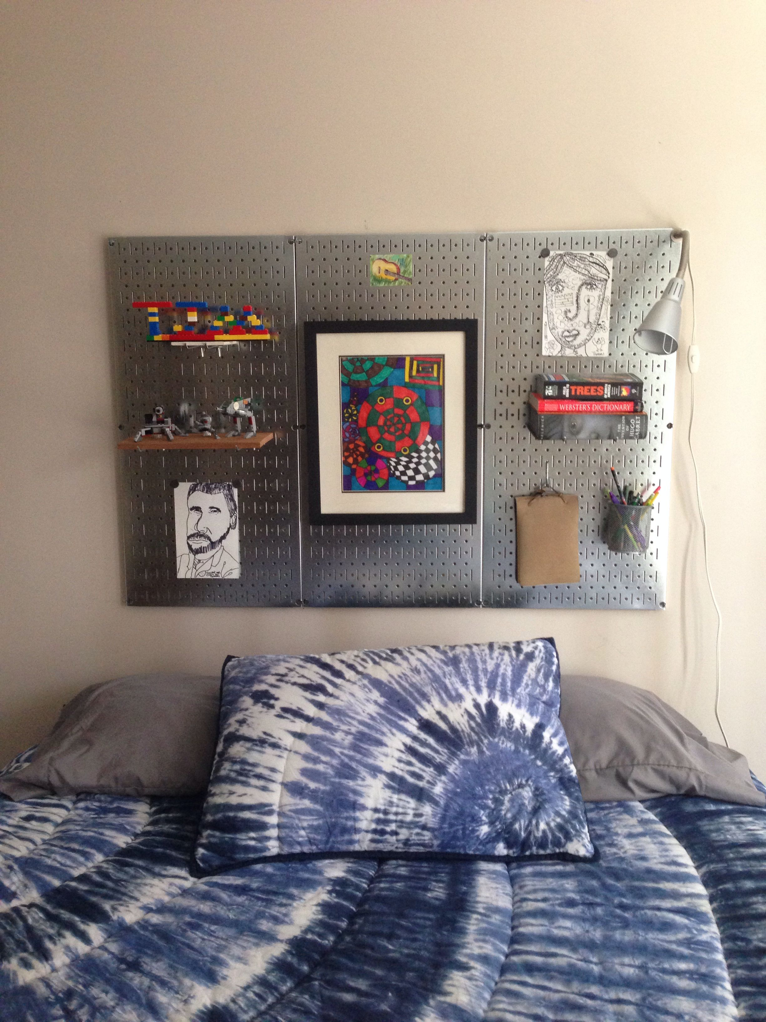 DIY metal pegboard headboard. I am excited about