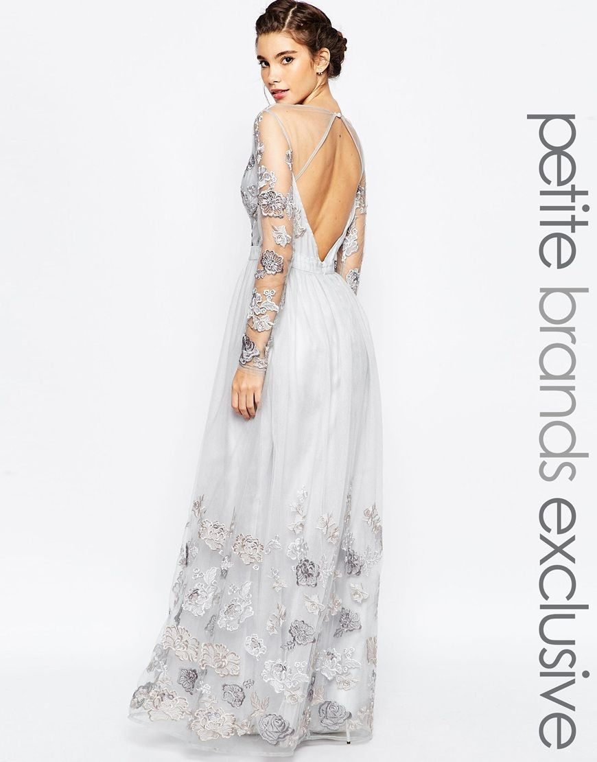 Chi Chi London Petite Floral Embroidered Maxi Dress With Open Back ...