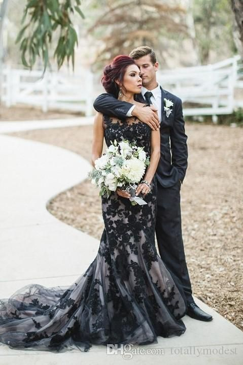 Black and Champagne Wedding Dress