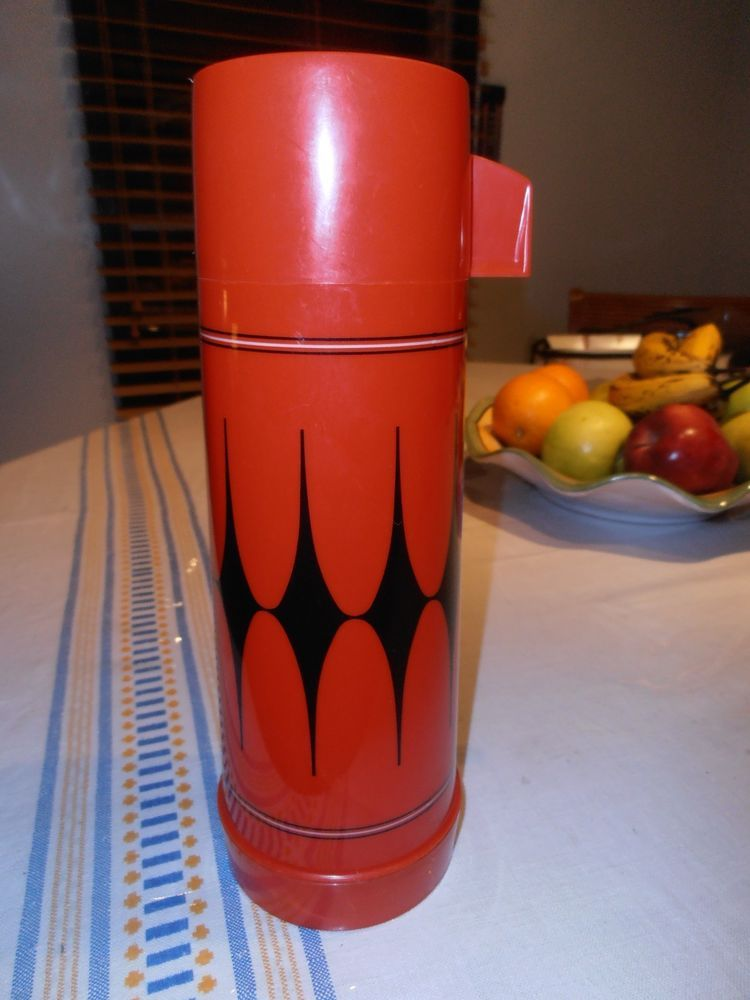 Vintage Aladdin Black and Red Diamond Thermos 1 Pint Glamper accessorie Vanguard