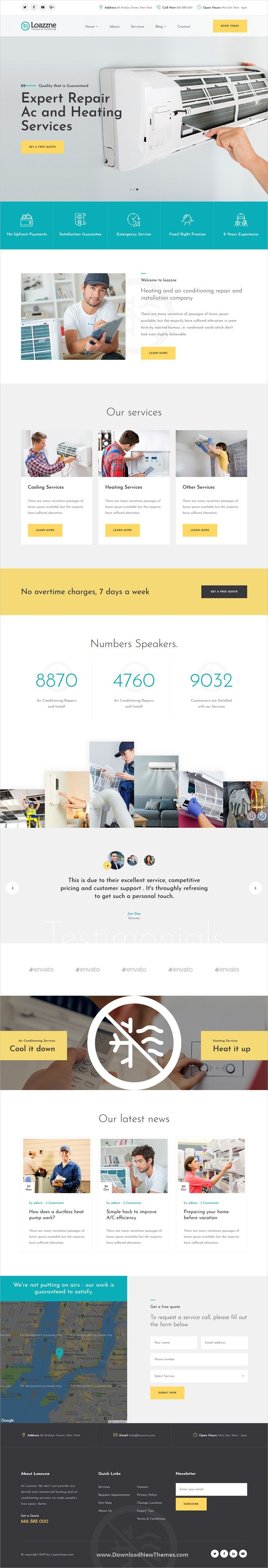 Loazzne Is A Clean And Modern Design 2in1 Responsive Bootstrap Html Template For Ele With Images Air Conditioning Services Heating And Air Conditioning Heating Services