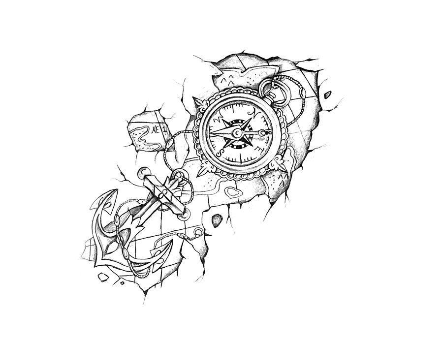 boussole avec ancre et carte conception de tatouage tattos top pinterest conception. Black Bedroom Furniture Sets. Home Design Ideas