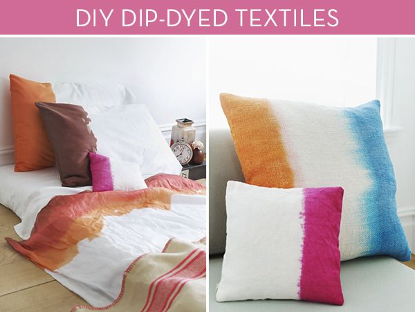 Make It: Colorful DIY Dip-Dyed Bed Linens and Throw Pillows » Curbly | DIY Design Community