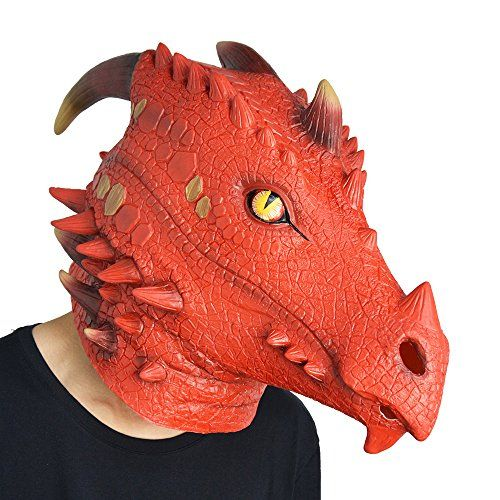 Amazlab Fire Dragon Mask for Halloween Costume Party Decorations - halloween props decor