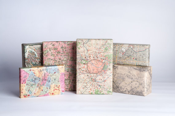 Paris Maps Gift Wrap  12 Sheets