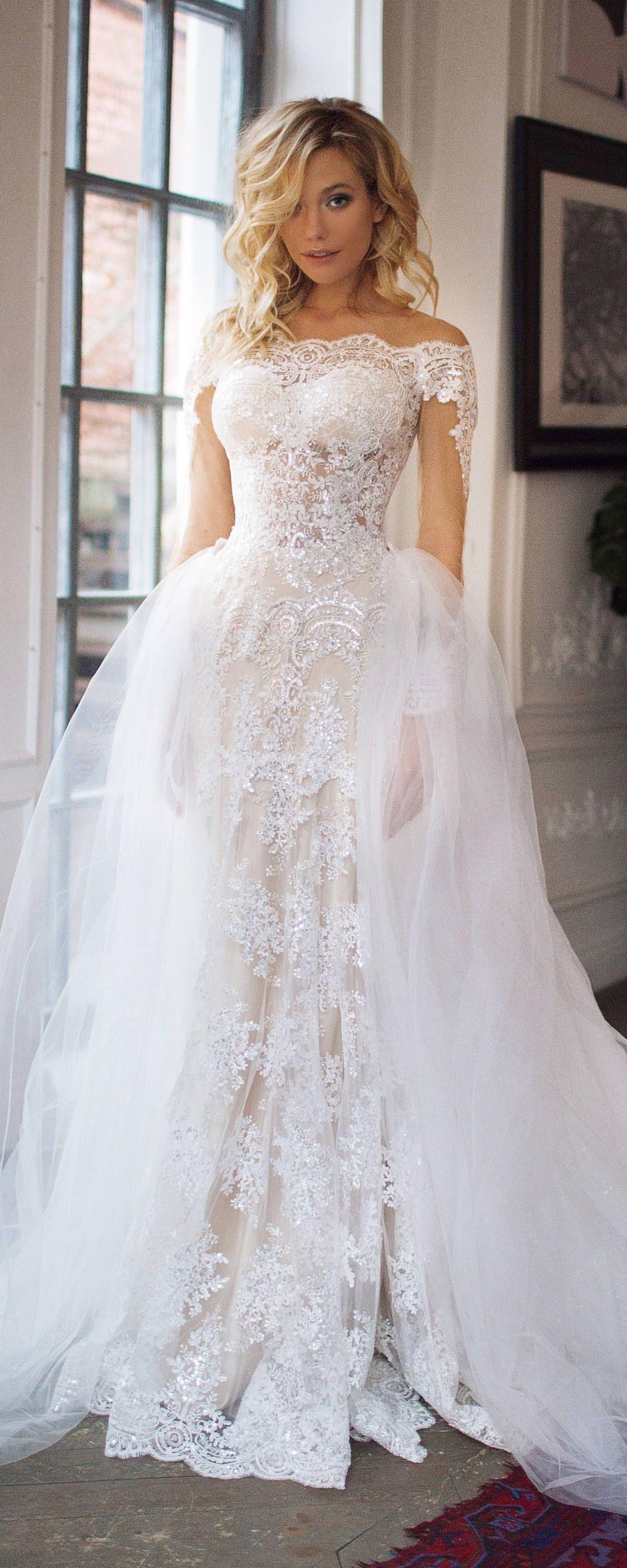 Mermaid wedding dress with detachable train  detachable train wedding dress Nektaria off the shoulder long sleev