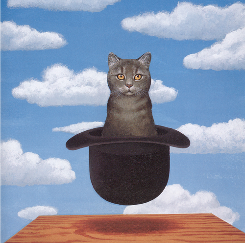 'Cat in a Hat' by Michael Patrick in the style of Rene Magritte