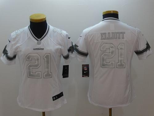 58ea94ca3 Nike Cowboys  21 Ezekiel Elliott White Women s Stitched NFL Limited  Platinum Jersey