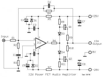 12W MOSFET Audio Amplifier 2SK135 / 2SJ50 circuit diagram