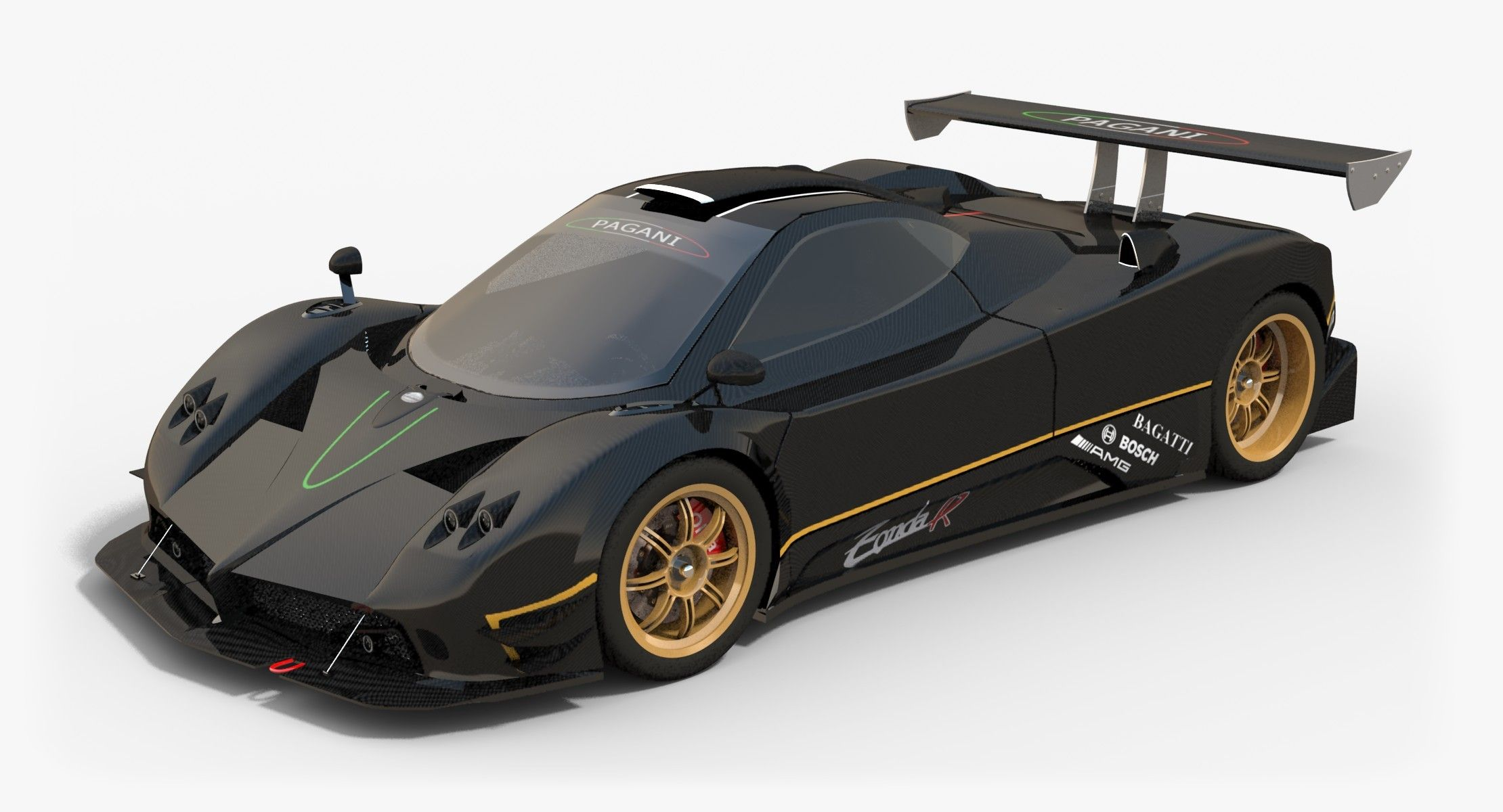 Lowpoly Subdivision Ready Pagani Zonda R With Pbr