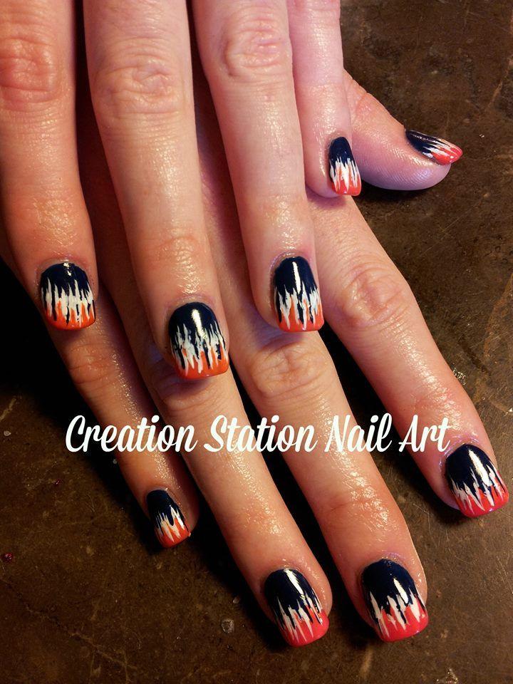 Chicago Bears Nail Art Sports nails, Spirit nails