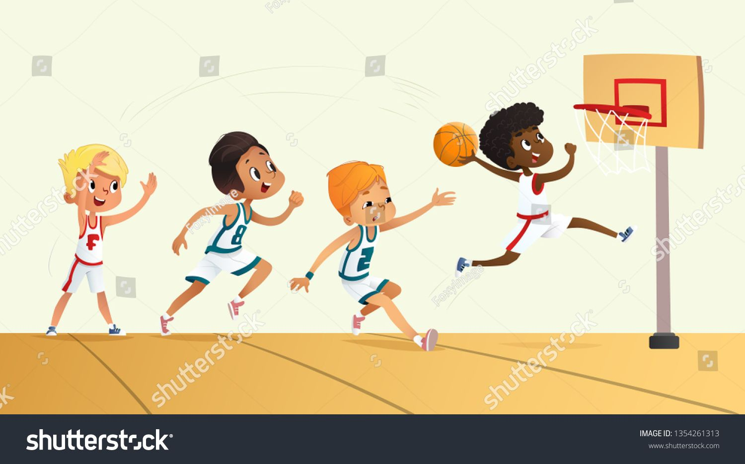 Illustration Of Kids Playing Basketball Team Playing Game Team Competition N Ad Ad Playing Kids Illustration B Children Illustration Kids Playing Kids