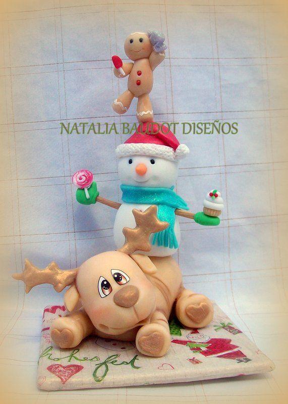 Mini totem navidad pasta flexible porcelana de navidad for Adornos navidenos en porcelana fria utilisima
