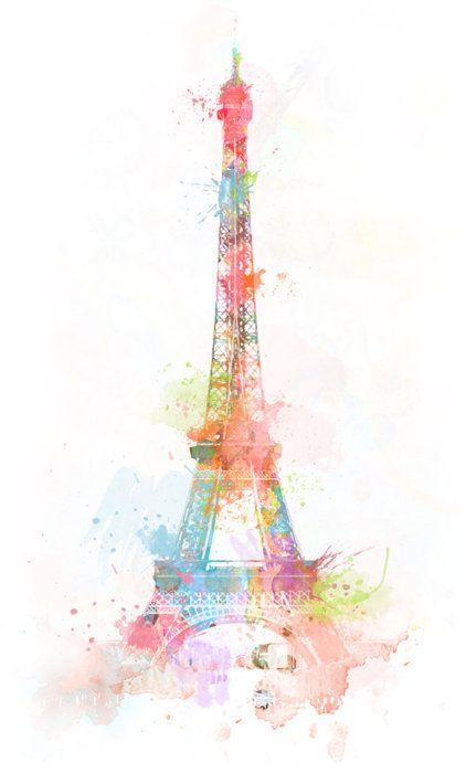 Eiffel Tower In Pretty Pastels Drawings Artwork Iphone Wallpaper