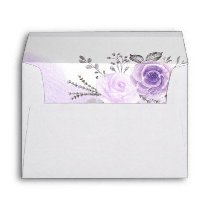 elegant pastel purple flowers for 5x7 invitation envelope diy