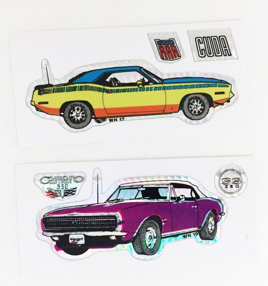 2x Vintage Muscle Car Mopar Cuda Camaro 350 Vending Machine Prism Sticker Lot Vintage Muscle Cars Vintage Muscle Sticker Collection [ 1000 x 938 Pixel ]