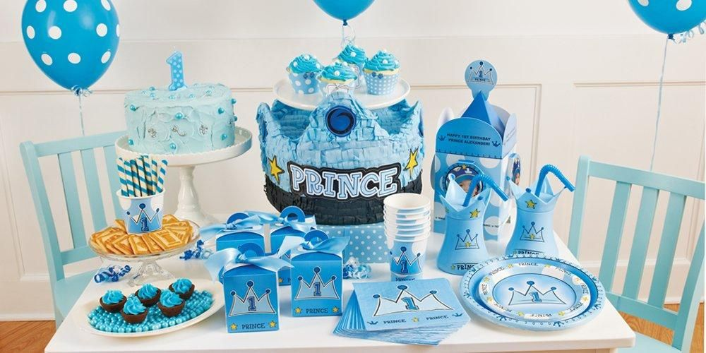 Lil prince boy first birthday theme prince themed for Baby boy 1st birthday decoration ideas
