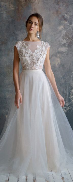 FILALI / 3d lace embroidery wedding dress low sexy embroidery back unique tulle wedding gown Nude wedding gown lace bodice, Victoria Spirina