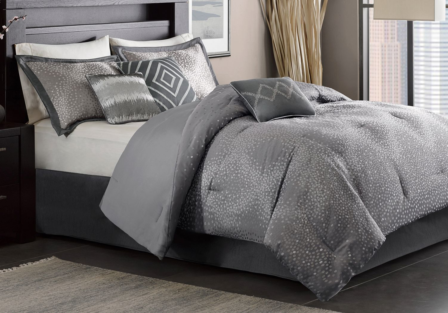 Jaylin Gray 7 Pc Queen Comforter Set Comforter sets