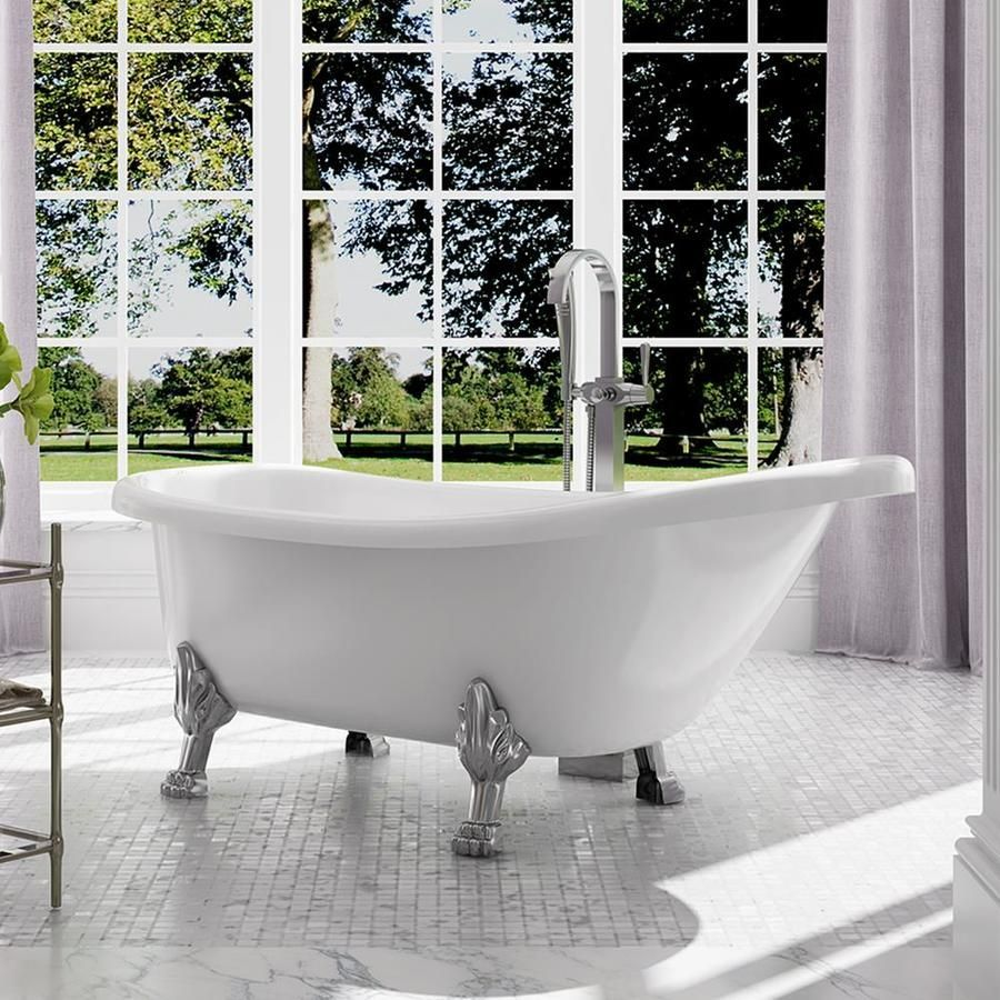 OVE Decors 66-in Gloss White Acrylic Freestanding Bathtub with Front ...