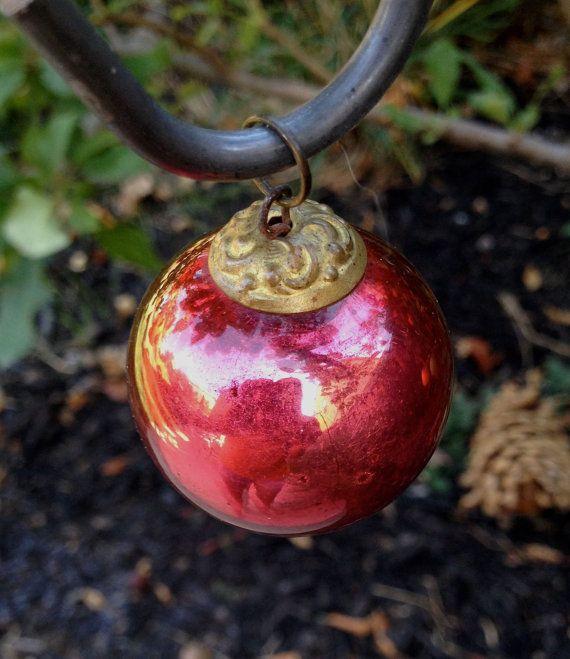 Stunning Antique Red Mercury Glass German Kugel Christmas Tree