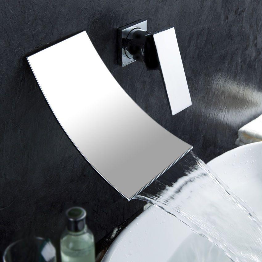 Modern Shoop Single Handle Wall Mounted Bathroom Waterfall Sink