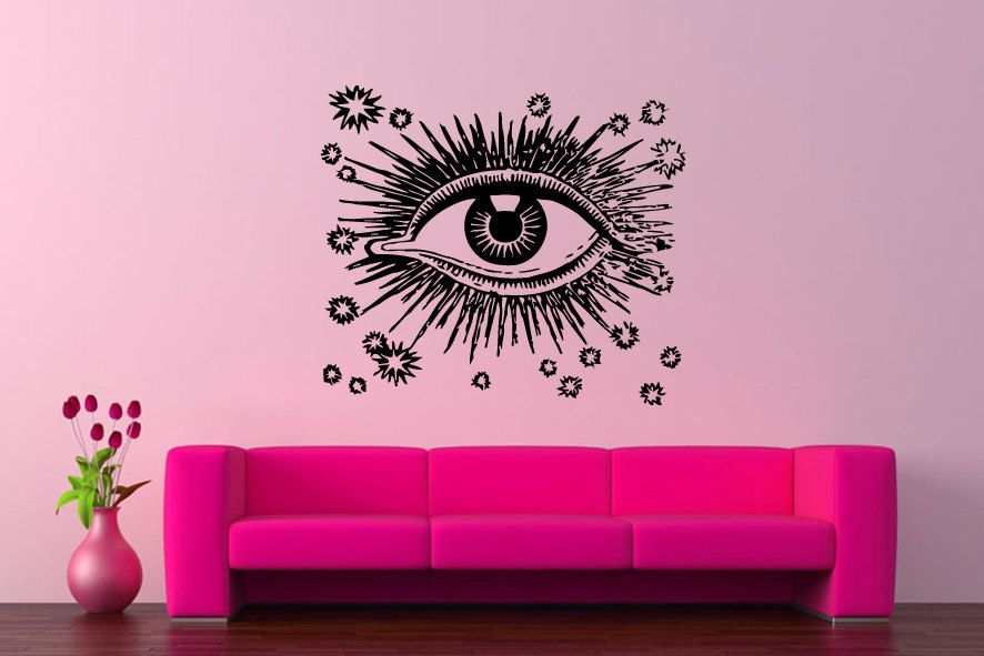 Wall Vinyl Sticker Decals Mural Room Design Pattern Art Decor Eye Woman Stars Eyelashes Art bo2198 by RoomDecalsAndDesigns on Etsy