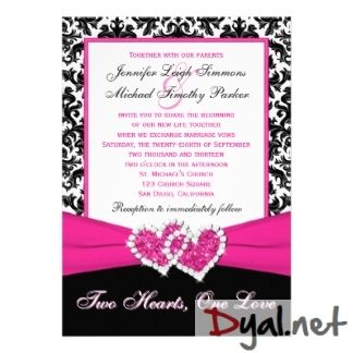 Pink And Black Wedding Invitation Kits