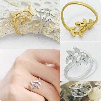 Min.order is $9.9 (mix order) Fashion leaves can not be adjusted personality ring female 4g JZ0011