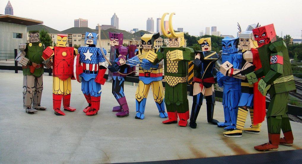 Awesome Cardboard Superhero Costumes Cardboard Costume Super Hero Costumes Avengers Costumes