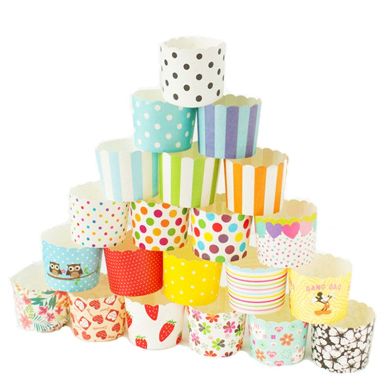 50 x Paper Cupcake Liners Cake Cup Baking Wedding Muffin Cases Decorating Home