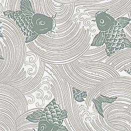 Green Beige Koi Fish Fabric Stream Up Kelp