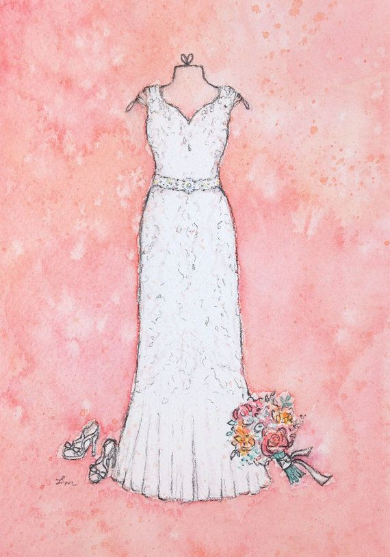 CUSTOM Wedding Dress Painting - First Anniversary Gift Paper ...