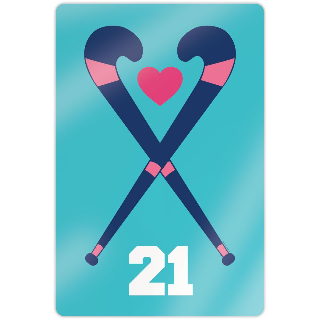 "Field Hockey 18"" X 12"" Aluminum Room Sign - Personalized Crossed Sticks Heart"