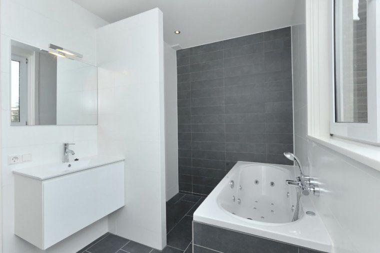 badkamers - wandtegels combinatie antraciet / wit | Ideeën huis ...