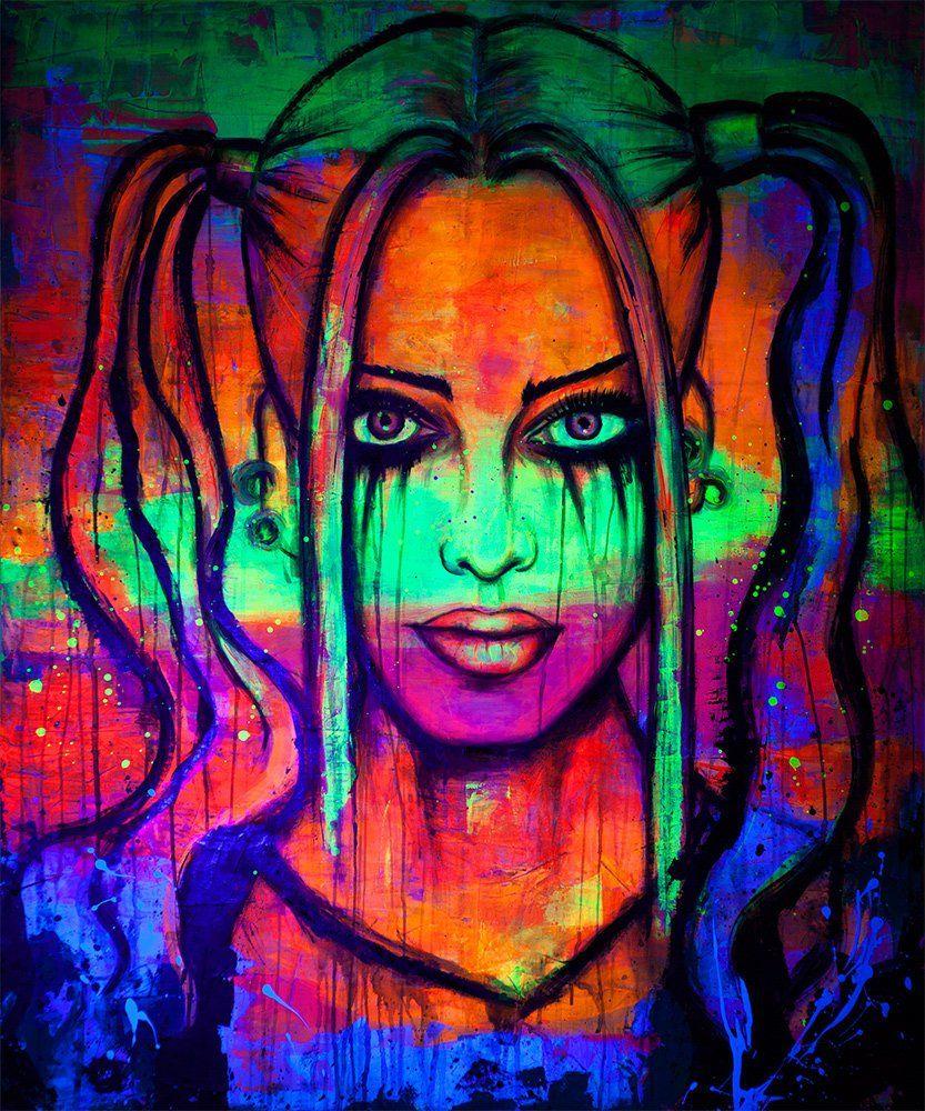 Nice women UV Glow Glow in dark Fluorescent painting Painting Handmade painting