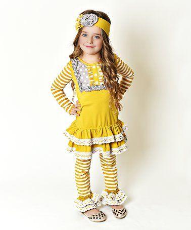 Mustard Polka Dot Ruffle Tunic & Leggings Set - Toddler & Girls #zulily #zulilyfinds
