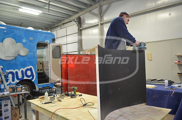 RV Interior- in progress building a curved wall #carpentry #builtbyaxle #snugmobile #snuggle #customfabrication