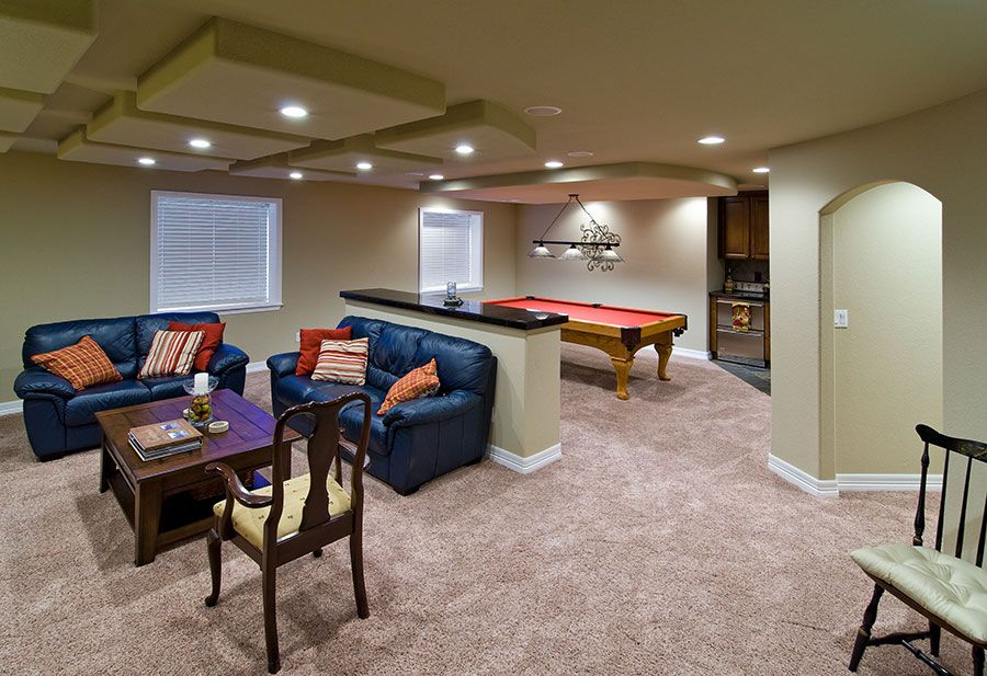Basement Great Room With Pool Table Diy Patio Furniture Small
