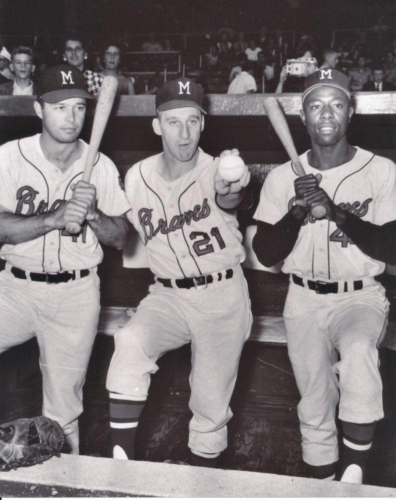 Hank Aaron Eddie Mathews Warren Spahn 8x10 Photo Milwaukee Braves Braves Atlanta Braves Retro Sport