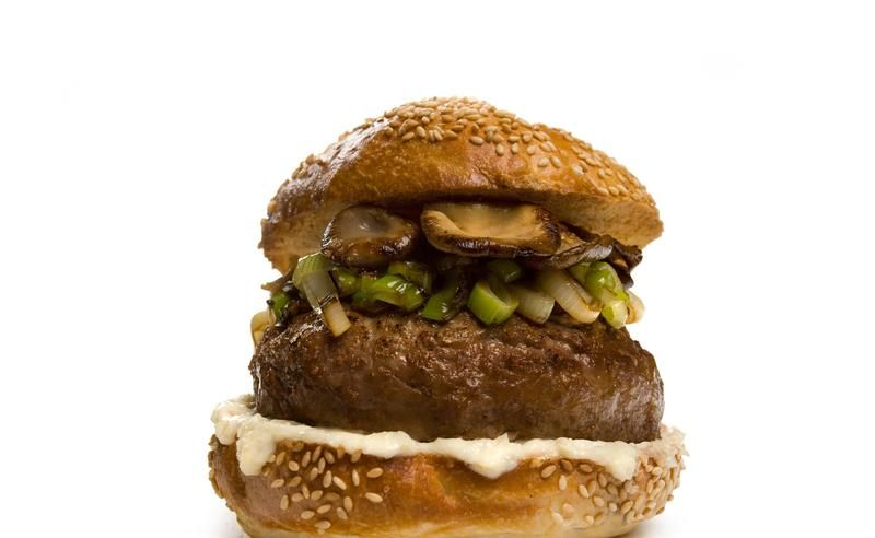 Bison Burger with Mushrooms and Spring Onions - 22 Great Ways to Make Burgers - Pictures - Chowhound