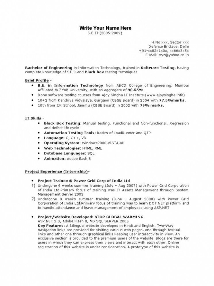 Manual Testing Resume Sample Huroncountychamber Com